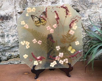 Butterfly Flower Lucite Tray - Vintage Boho Bohemian Natural Home Decor Ferns Herbs Yellow Butterfly
