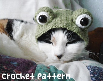 CROCHET PATTERN - Pet Hat Costume - PDF Instant Download - Frog Cat - Cute Halloween Disguise