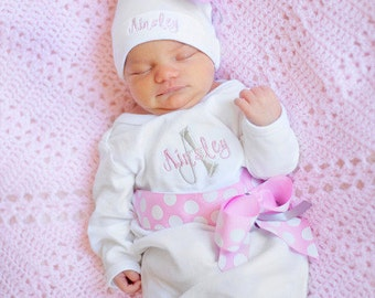 personalized baby girl take home outfit, coming  Home From Hospital,  Embroidered Baby Clothes, baby gift, newborn hospital hat,  pink grey