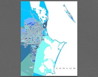 Cancun Map Print, Cancun Mexico Art, Isla Mujeres, Yucatan