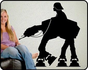 """Star Wars AT-AT Walker wall decal - Darth Vader Wall decal on At-At Walker vinyl decal, 23"""" x 22"""""""