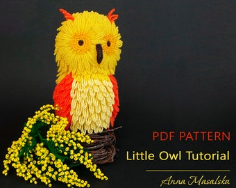 PDF Tutorial, Beaded Owl Bird, Beaded Gerbera, French beading, Beaded Birds, Flowers Tutorial