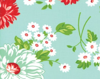 SPRING SALE - 5 yards - The Good Life - 55150 12 - Scrumptious Floral in Aqua - Bonnie and Camille for Moda Fabrics