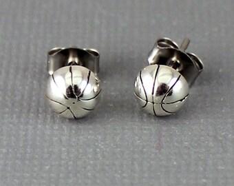Sterling Silver Basketball Post Earrings, Sports Earrings, Silver Sports Studs, Sports Post Studs, Basketball Earrings, Basketball, EER01