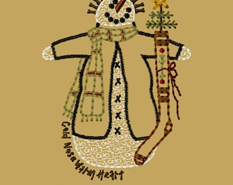 MACHINE EMBROIDERY-Twigs Snowman-4x4-Instant Download