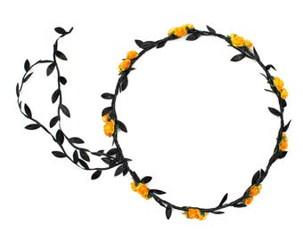 Orange Rose Flower Crown, Halloween Flower Crown, Orange and Black Headband, Halloween Headband, Flower Headband, Floral Garland
