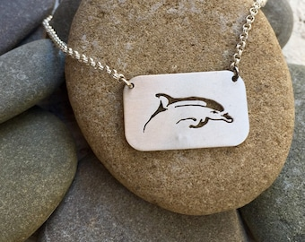 Hand pierced Surfacing Dolphin Necklace-Dolphin Jewelry