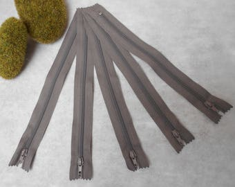 Taupe zipper 20 cm - set of 5 - not separable