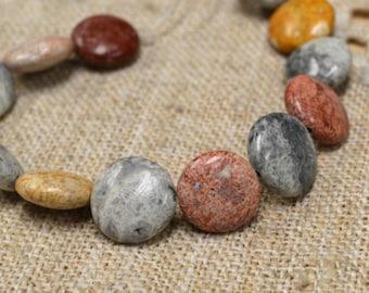 15pcs 12mm Sky Eye Jasper Natural Puffed Flat Round Coin Gemstone Beads