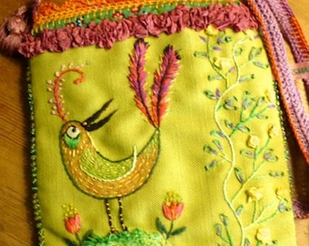 pouch,shoulderbag,hand embroidered OOAK