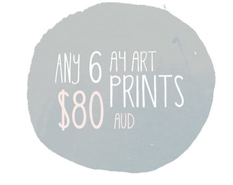 Art Print Set - 6 Pack - Discount - by Honey Cup