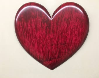 Red wood heart unique Personalized best Present ever Wood Carving