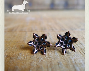 DOLLAR DEAL! Brown Flower. Post Earrings -- (Small, Simple, Rustic Chic, Boho Chic, Autumn, Metal, Vintage-Style, Bridesmaid Gift Under 5)