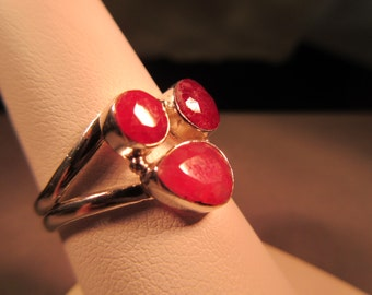 Boho Sterling Silver Raspberry Quartz Ring - 9