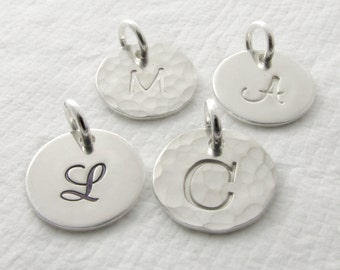 Sterling Silver Initial Charm Silver Initial Jewelry Single Silver Charm Tiny Silver Initial Charm Personalized Jewelry Personalized Initial