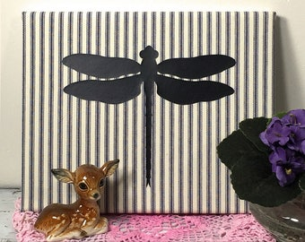 Cottage Chic Dragonfly Art Canvas, Nursery Decor, Nature Wall Hanging, Farmhouse Wall Decor, Silhouette on Navy Stripe Ticking  (0173bN)