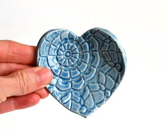 Light Blue Heart - Ring Dish - Coffee Spoon Rest - Ceramic, Pottery - Jewelry Dish, Mother's Day Gift, Tea Bag Rest, Gift for Her