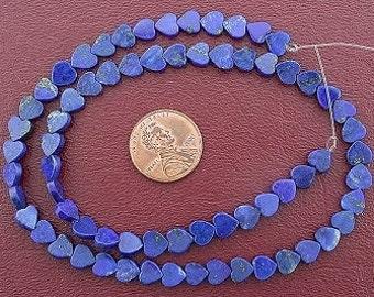 6mm heart gemstone lapis beads