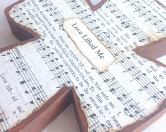 Love Lifted Me Wood Hymnal Cross MADE TO ORDER