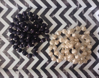 Vintage~Cream and Black~Necklaces~Set of 2~Satin Bead~Sliver Tone Accent