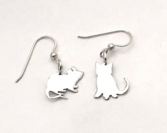 Kitten & Mouse Earrings made from Vintage US Silver Dimes