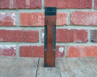 """Vintage Wooden Print Block Letter I  7 1/2"""" Large Size"""