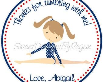 Gymnastics Party Favor Tags ( Set of 12) / Red,white, and blue gymnastic favors / Gymnastic Birthday Favor / Gymnastics Favors