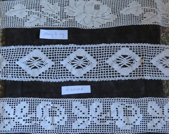Vintage lace,wide 3 inch - 2 3/8 inch widths,crocheted lace,assorted patterns,florals,diamonds,crafts, sewing,trim