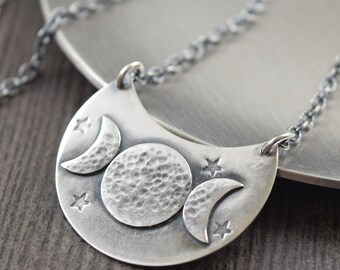 Triple moon goddess necklace triple goddess necklace crescent moon necklace goth jewelry priestess necklace silver necklace