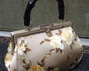 Posh Silk Rose Print Bamboo Handle Handbag