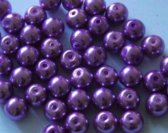 Set of 30 round pearls 8mm purple