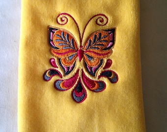 Embroidered Butterfly Fingertip Towel