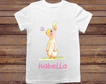 Easter Bunny Personalised Childs Bunny T Shirt Childs Top Child's Gift Girls Personalized Kid's Rabbit shirt Toddler Present