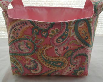 Storage Organizer Basket Container Bin Fabric -  Paisley pink