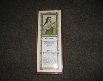 "ANTIQUE SAINT THERESE 1924 Prayer Print With Picture of Saint Therese P.J. Kenedy & Sons 17 1/2"" x 7 1/4"" Original Frame"