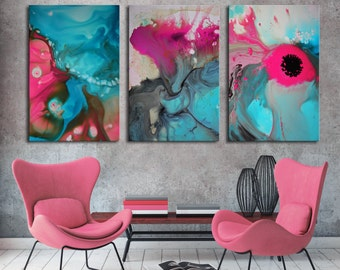 Pink painting, blue painting, abstract print, blue pink office decor, Abstract Painting, fuchsia painting, large art, teal painting, flowers