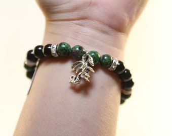 Elastic Cord Bracelet Synthetic Ruby Zoisite & Black Onyx 8mm Beads/Stones Silver Plated Dragon Charm-Free Shipping!