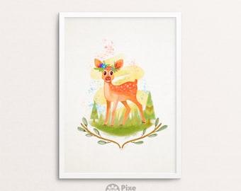 Baby Deer Watercolor Painting Digital Print, Cute Deer, Deer Illustration, Deer Art, Deer Painting, Deer Portrait, Deer Print, Forest Deer