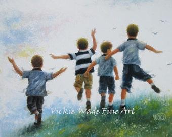 Four Boys Art Print, four brothers leaping, boys room wall art, four boys paintings, four boys jumping, four happy boys, Vickie Wade art