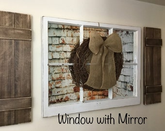 Mirror with shutters etsy shutter wall decor farmhouse decor window frame window with mirror shutters sisterspd