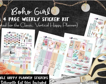 HP Weekly Planner Stickers / Boho Girl / Happy Planner Classic / Printable Planner Stickers / Cut Files / for All Planner Girls / Girl Boss