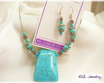 Turquoise Pendant with Earrings - Matching Sets - Turquoise Necklace and Earrings - S0408-01