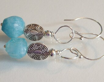 Aquamarine and Silver Earrings Handmade