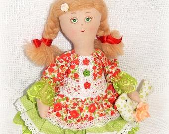Handmade fabric doll, cloth doll, OOAK, rag doll, Soft doll, kids doll toy, children toy