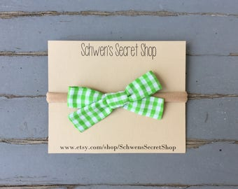 green gingham bow, baby girl bow, hand tied bow, baby girl headband, baby hair bow, baby headband, school girl bow, newborn bow, baby bows
