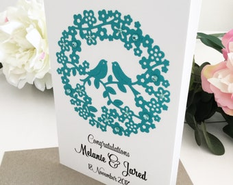 Wedding Congratulations Card, Wedding Card, Wedding Gift for Couple, Personalised Gift, Custom Wedding Card, Personalised Wedding Card, Teal