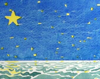 Original painting watercolor Yellow Star child's room decor