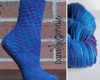 SOCK KIT Nightfrost Hand Dyed Sock Yarn AND Pattern, Superwash Merino, 420 yard, blue, purple, violet, turquoise, ocean, nylon, dana Gervais