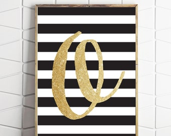 black and gold decor, printable O letter art, gender neutral decor, nursery decor, letter print, nursery wall art, download art