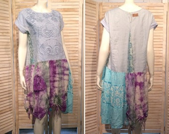 Upcycled Dress Boho Chic Tie Dyed  Ruched Hem Upcycled Clothing Quirky Patchwork Tunic Loose Fit Lagenlook tiered floral gauze Eco L XL